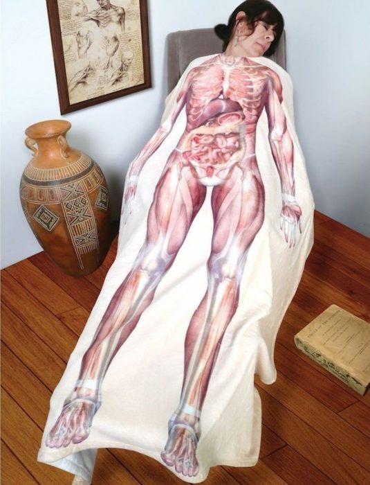 Manta con diseño del interior del cuerpo humano