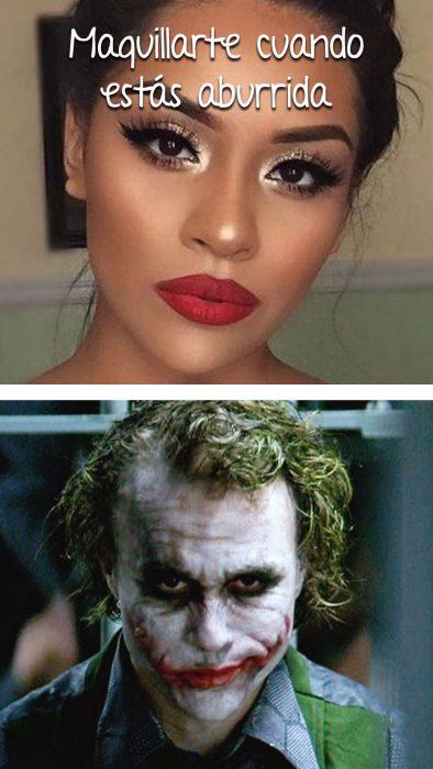 chica maquillada vs el guasón