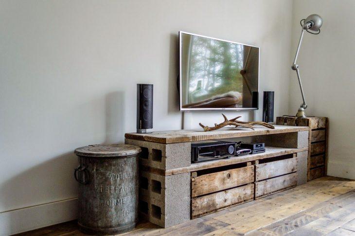 mueble para tv de bloques de cemento