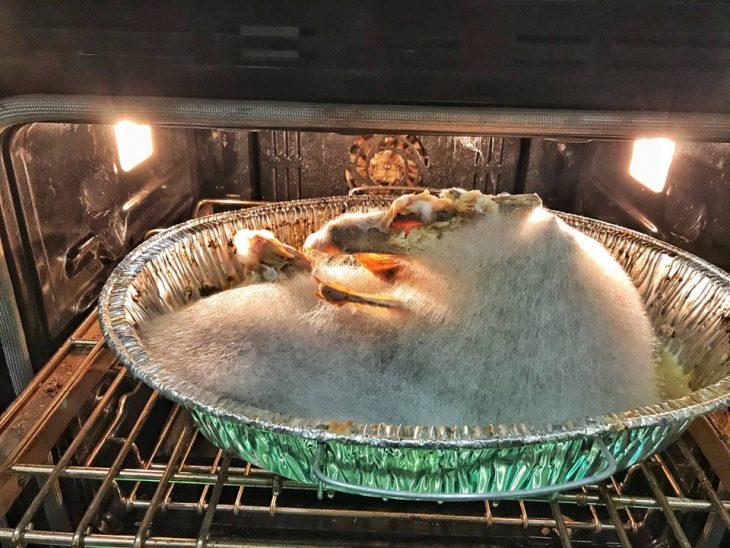 pavo echado a perder dentro de un horno
