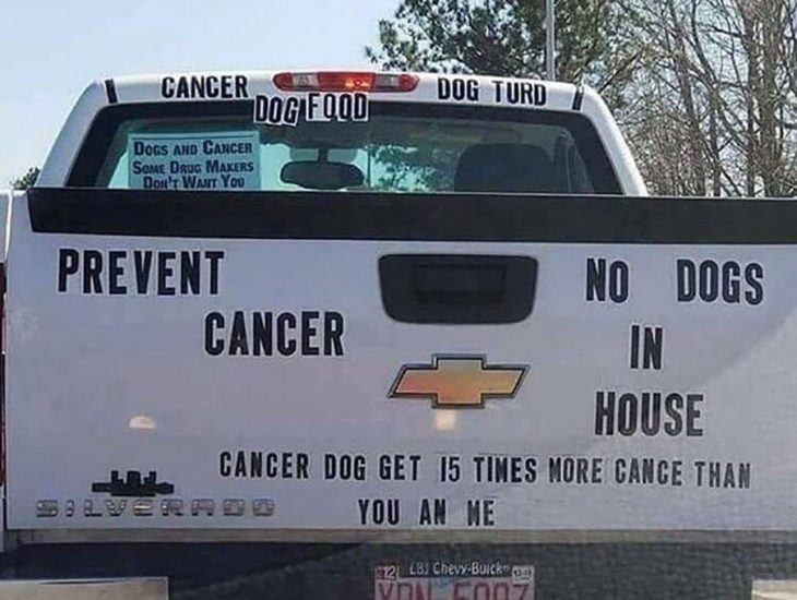 camioneta con letras sobre cáncer en perros