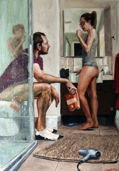 pintura d ehombre y mujer en el baño
