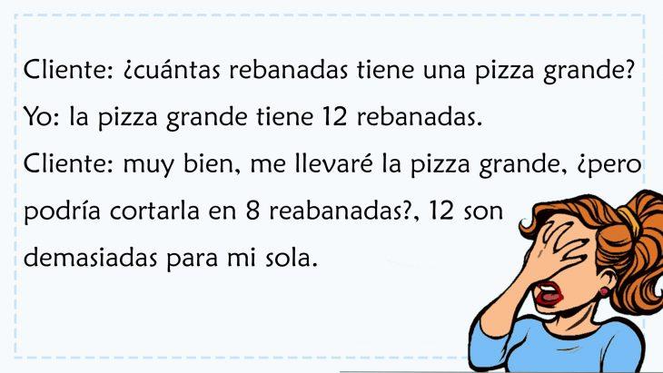 conversación sobre rebanadas de pizza