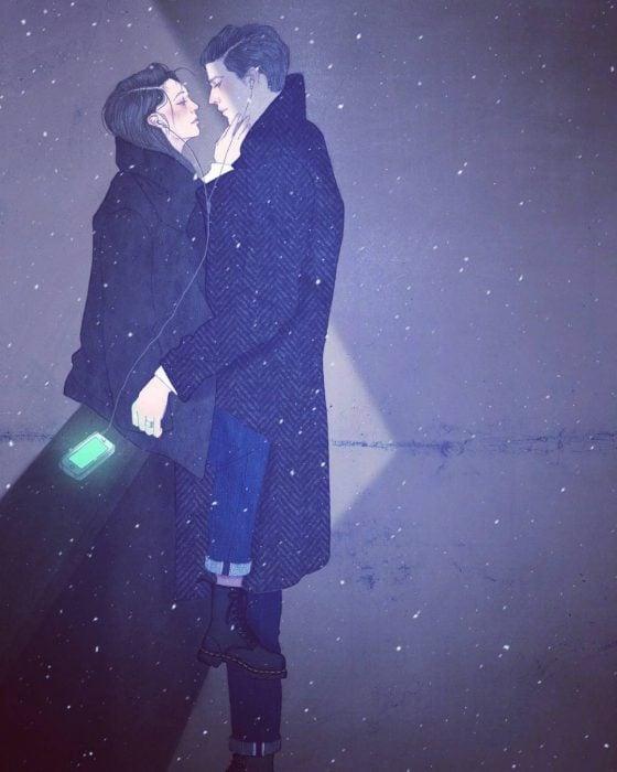 ilustración de pareja en invierno