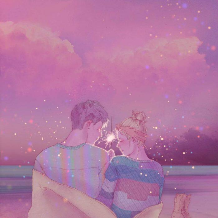 ilustración pareja con cielo rosado