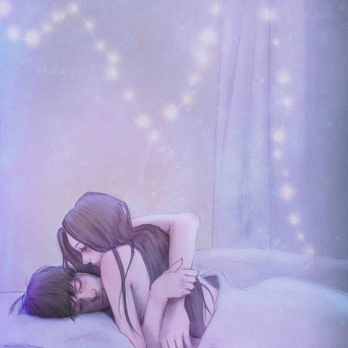 ilustración de pareja abrazada en la cama