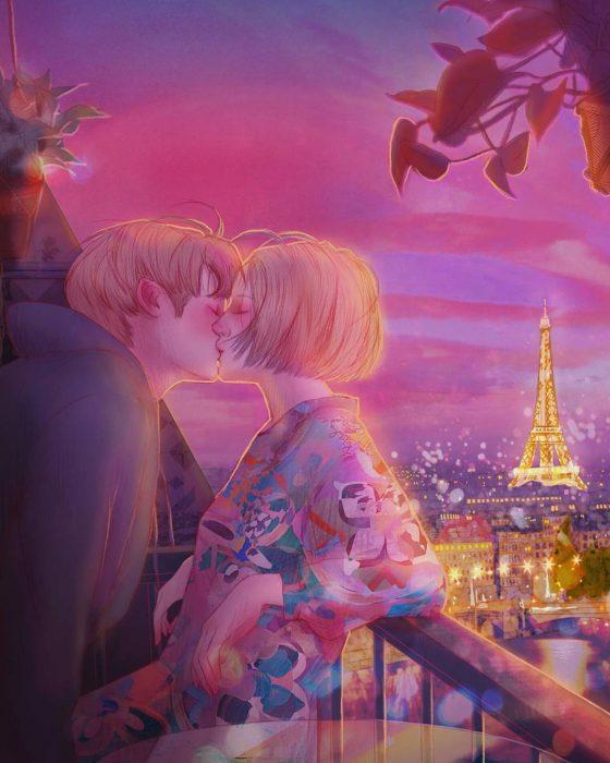 ilustración beso en parís