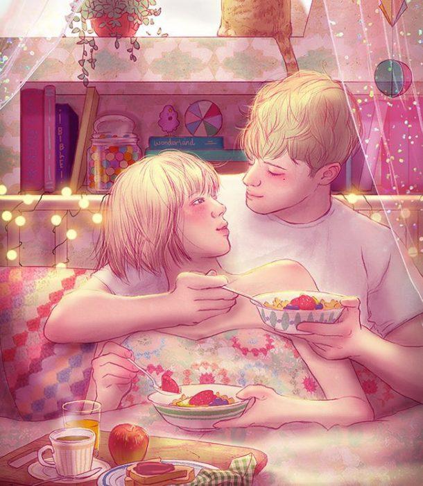 ilustración pareja desayunando