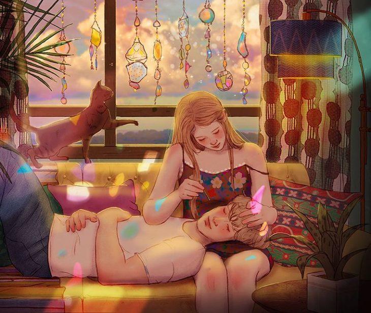 ilustración de pareja en la que la chica le acaricia el cabello al chico
