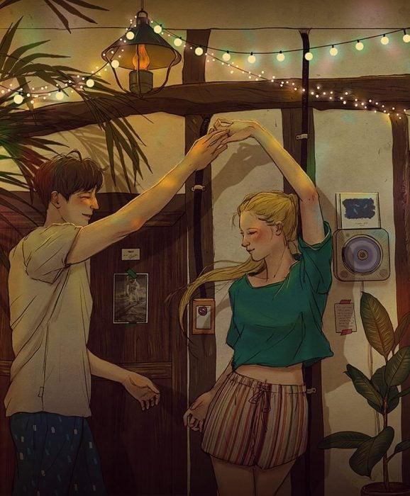 ilustración pareja bailando