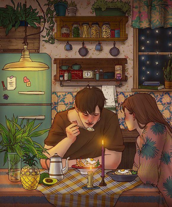 ilustración cena romántica hecha en casa