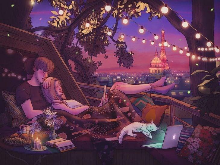 ilustración pareja viendo una serie