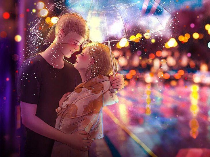 ilustración beso bajo la lluvia