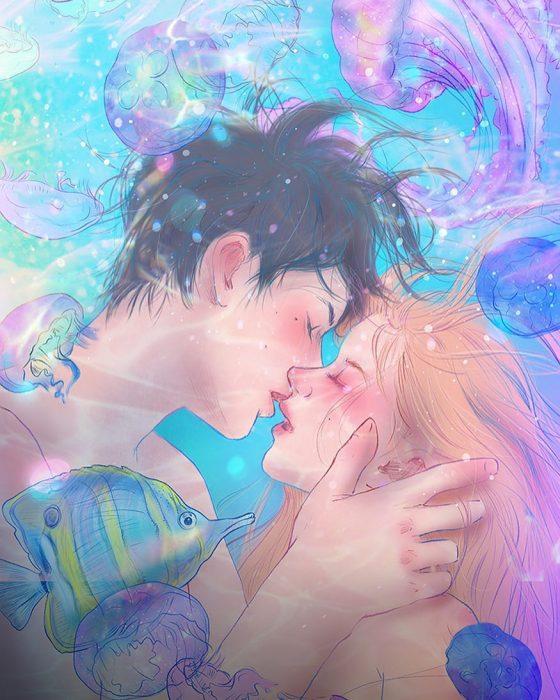 ilustración de un beso