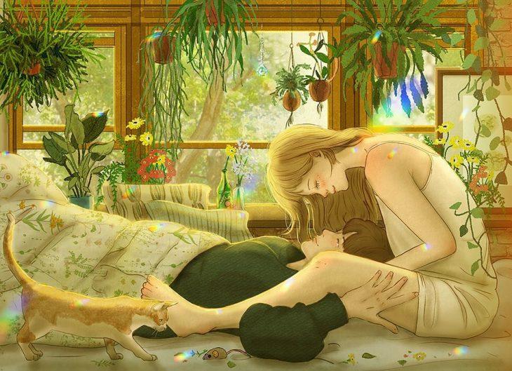 ilustración de dos chicos en una habitación llena de plantas