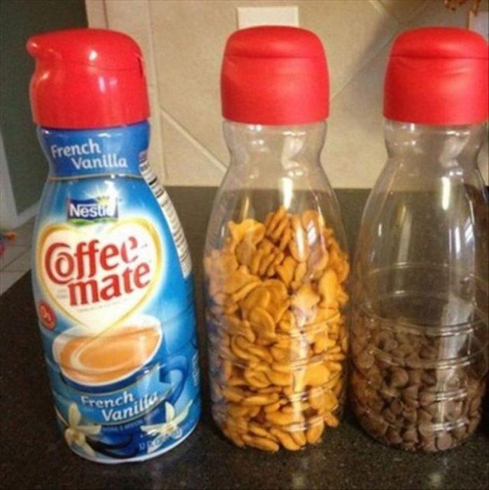 envase de crema reutilizado
