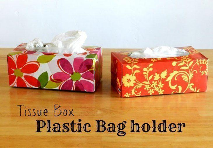 bolsas de plástico en bolsas en las cajitas de pañuelos