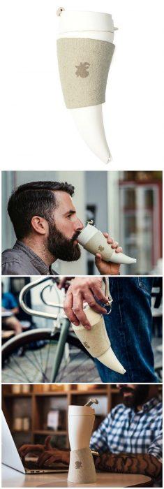 Hombre con termo en forma de cuerno