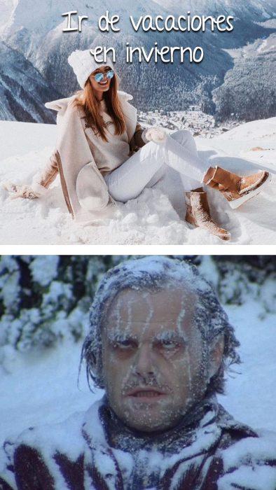 chica sonriendo en la nieve vs el resplandor