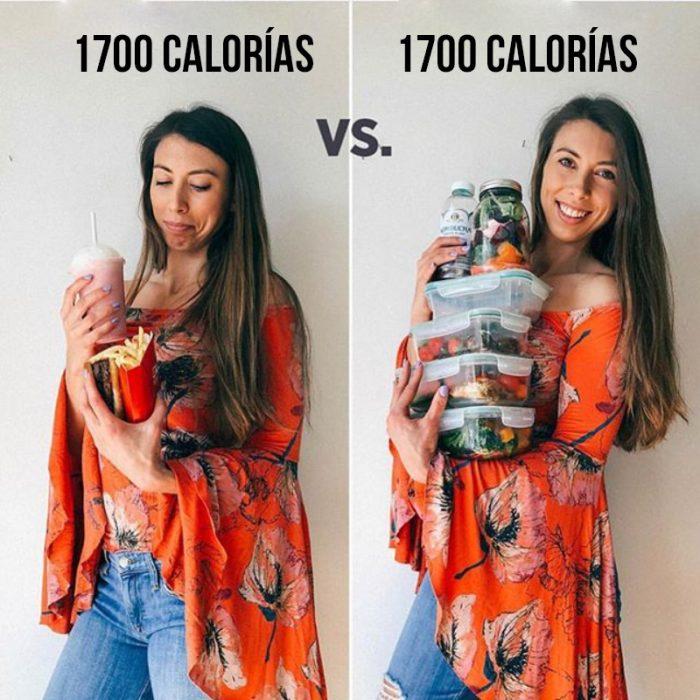 mujer sostiene comida chatarra vs comida saludable