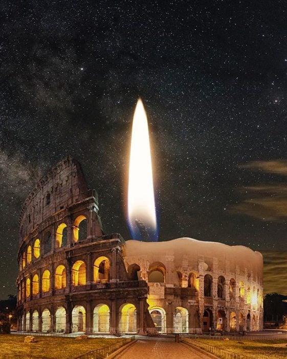 montaje de vela en coliseo romano