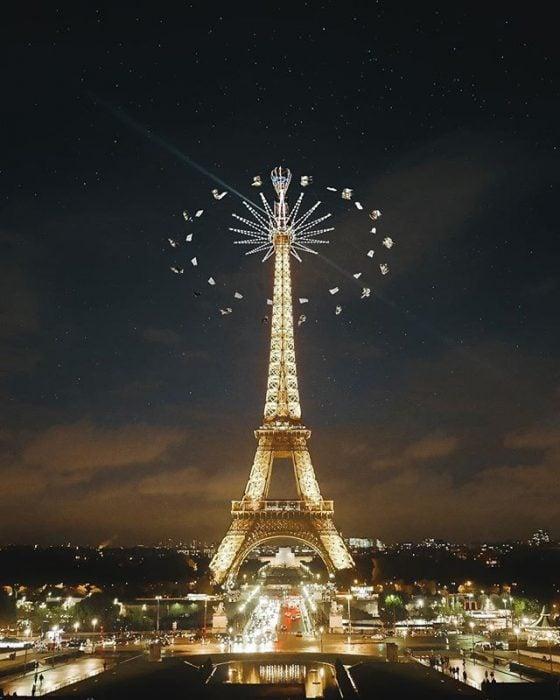 montaje de carrusel en la Torre Eiffel