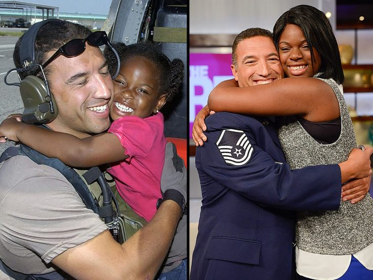 un Marine se reúne con una niña que salvó durante el Huracán Katrina