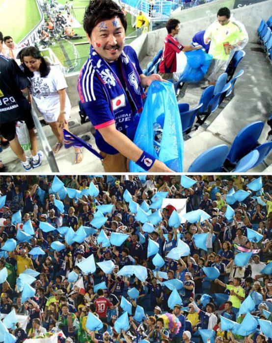 fanáticos japoneses de la FIFA 2014 se quedaron a limpiar las instalaciones