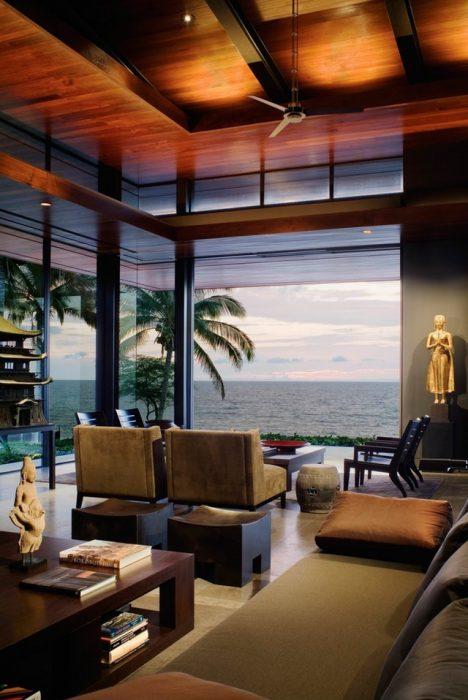 Vista al Océano Pacífico desde una residencia en Hawai