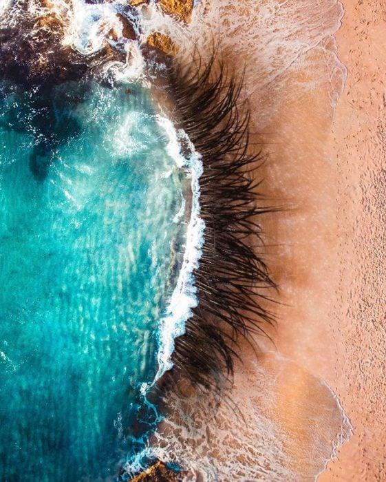 montaje de pestañas en una ola