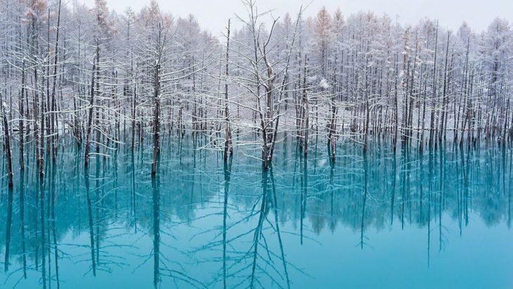 El Estanque Azul en Hokkaido, Japón