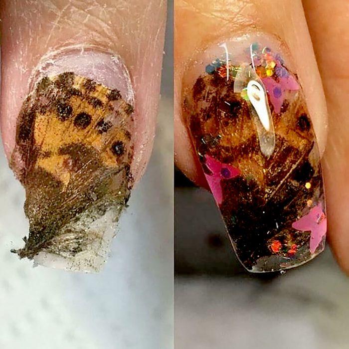 mariposa en unas uñas