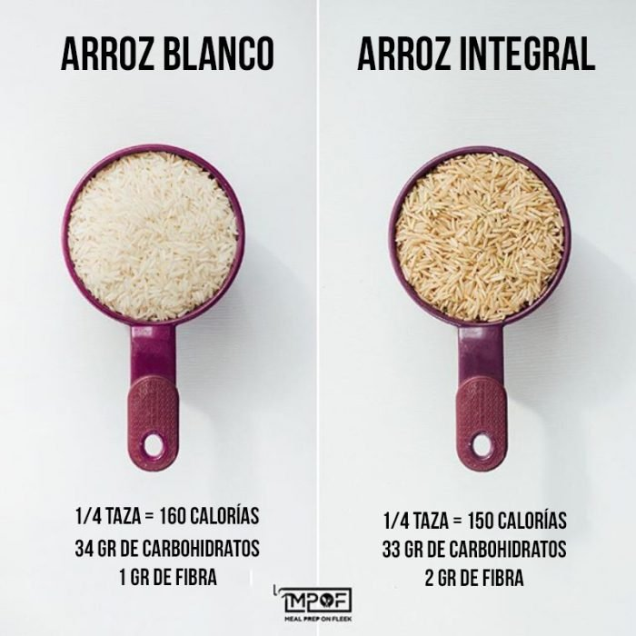 compara arroz blanco con el integral