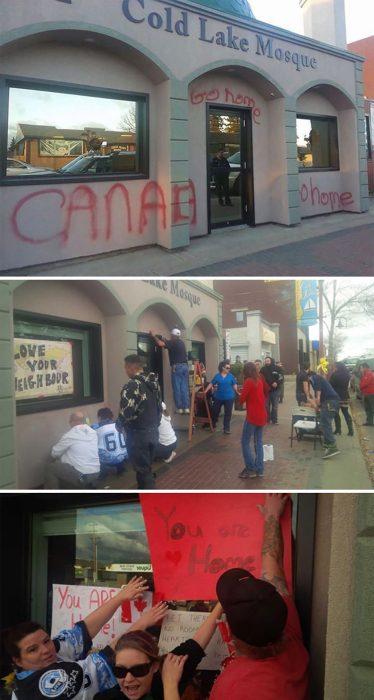 vecinos borran mensajes de odio de una mezquita