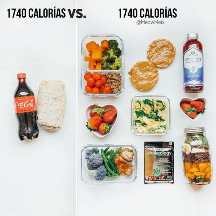 una coca y un burrito vs comida sana