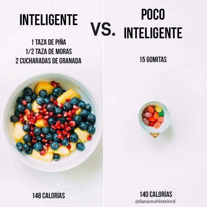 1 plato de fruta vs gomitas