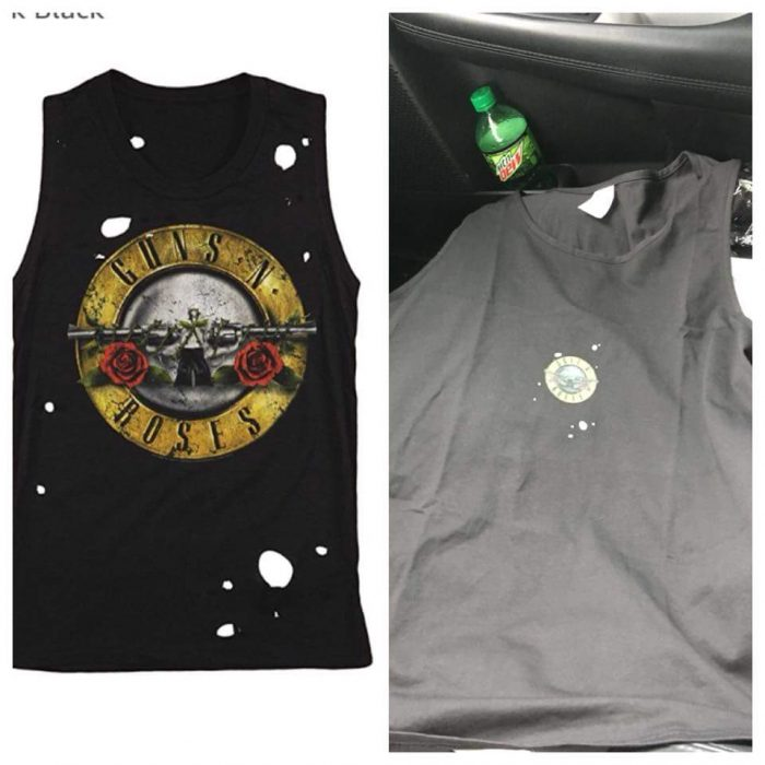expectativa vs realidad camisa de guns and roses