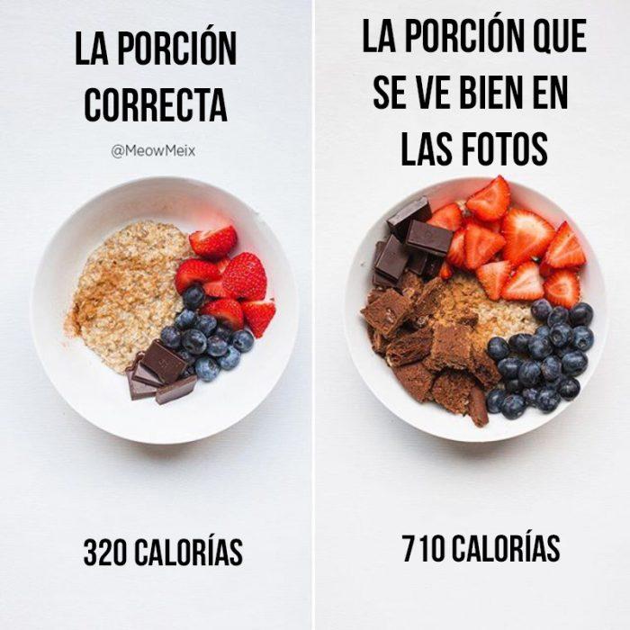 avena con frutas y chocoalte vs el mismo platillo pero ms lleno