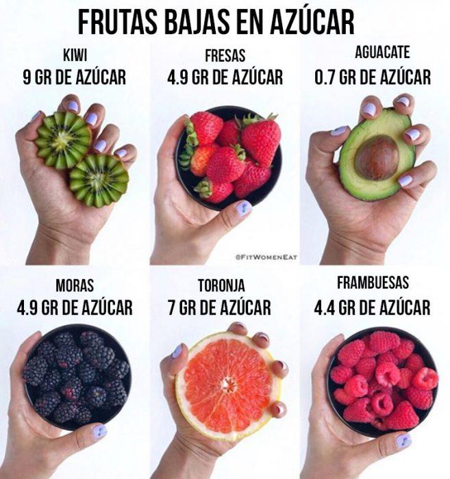 frutas como kiwi fresa y moras
