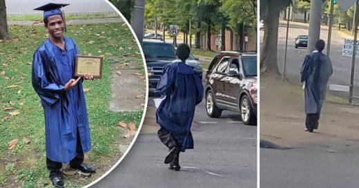 Cover Descubren a un joven que caminó kilómetros con toga y birrete