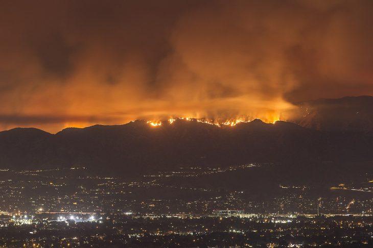 incendio forestal en una montaña