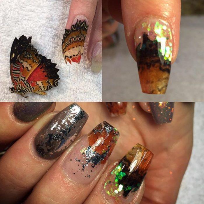 uñas con alas de mariposa