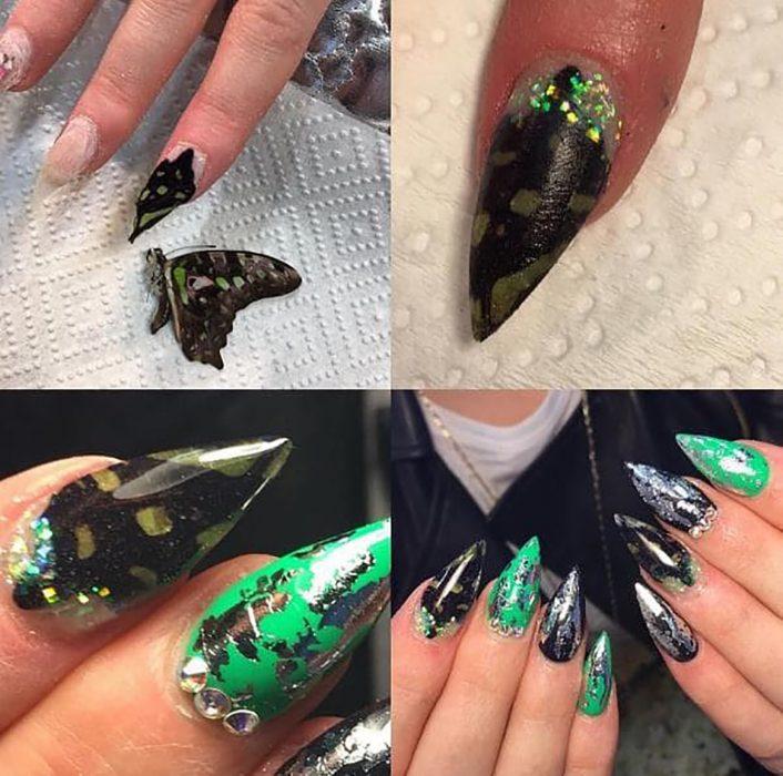 uñas verdes con alas de mariposa