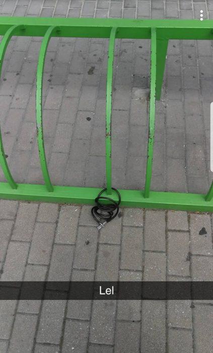 candado de bicicleta sin bicicleta