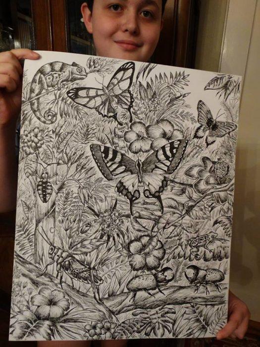 Niño dibujante arte