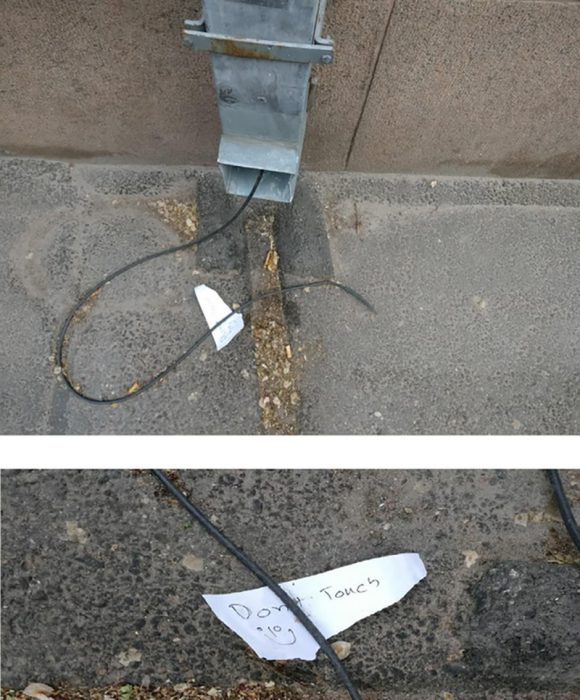 cable pelado en contacto
