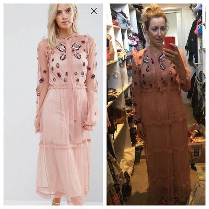 vestido largo salmón expectativa vs realidad