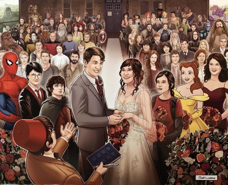 boda dibujada estilo amrvel