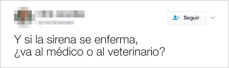 tuit si las sirenas se enferman van al médico o al veterinario