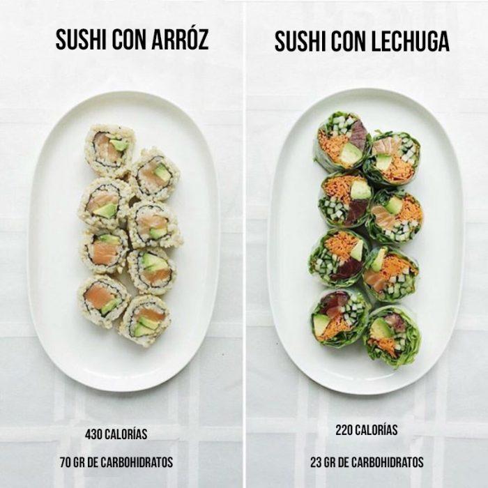 sushi con arroz y con lechuga
